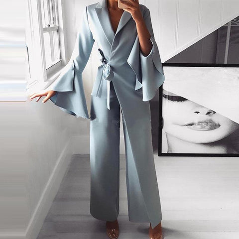 Fashion Pure Colour Belted Turndown Collar False Two-Piece Suit