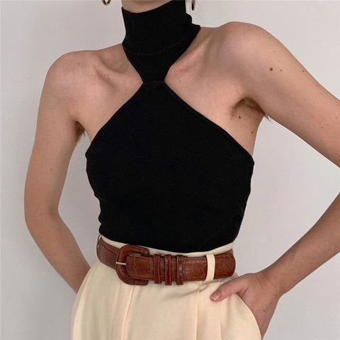 Women's Off-The-Shoulder High Collar Solid Color Knit Vest