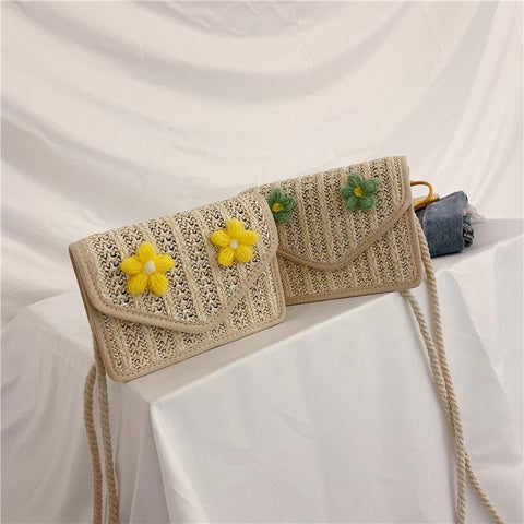 Korean Style Fashion Brisk Flower Decoration Straw Bag Messenger Bag
