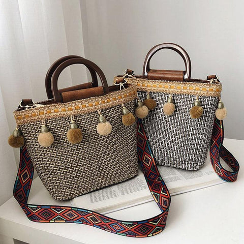Fashion Bohemian Shoulder Strap Knitted Bag Messenger Bag Clutch Bag