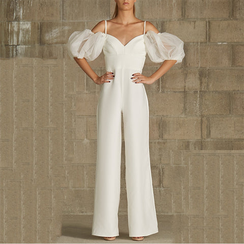 Fashion Strapless Collar Puff Sleeves Solid Color Jumpsuit