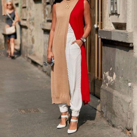 Contrast And Long Sleeveless High Split T-Shirt