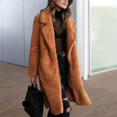 Fashion Pure Color Lapel Overcoat