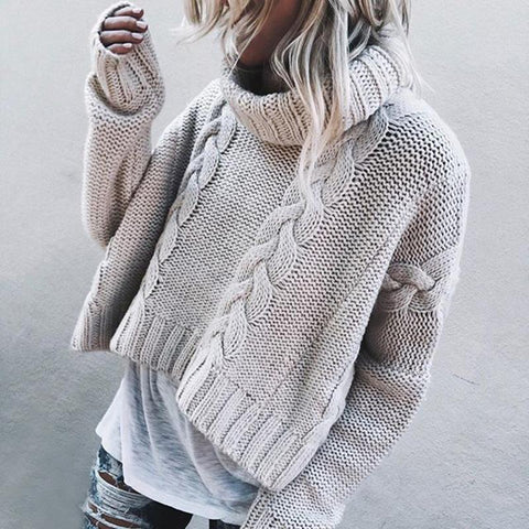 Casual High Collar Pure Colour Short Sweater