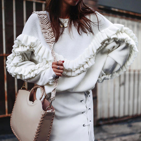 Fashion Round Neck Brocade Ruffled Long Sleeves Sweater