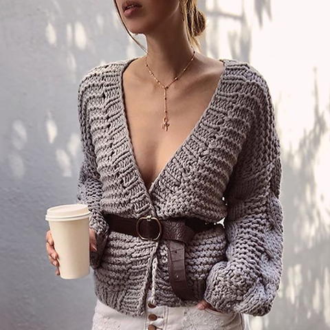 Sexy Long Sleeve Knitted Short Cardigan