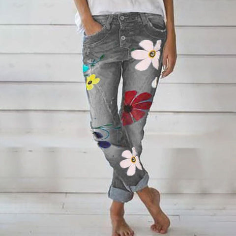 Fashion Floral Jeans Denim Pants