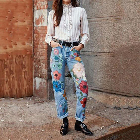 Casual Embroidery Straight Long Jeans