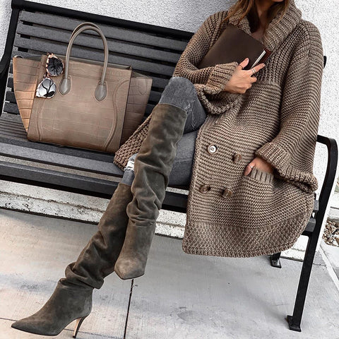 Double-breasted fashion thick sweater coat