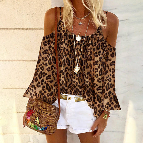 Casual Round Neck Off Shoulder Leopard Print Top