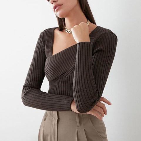 Women's fashion solid color irregular collar sweater