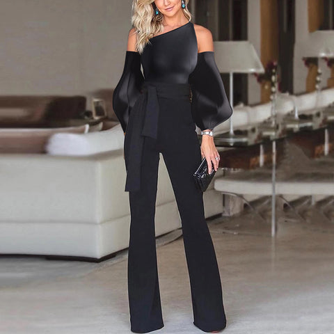 Net Red Style Solid Color Off-The-Shoulder Puff Sleeves With Slim Female Jumpsuit