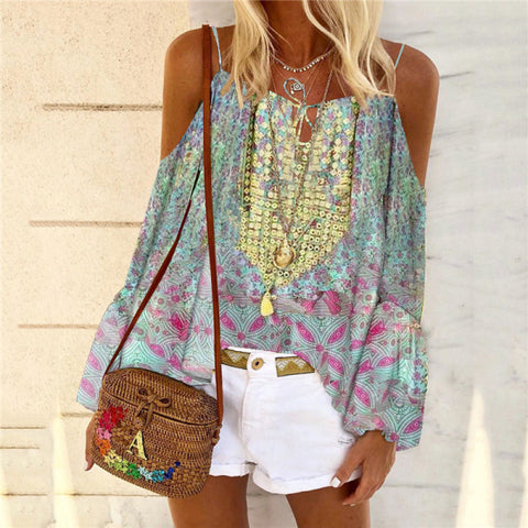 Bohemian Off-shoulder Printed Bell Sleeve Blouse