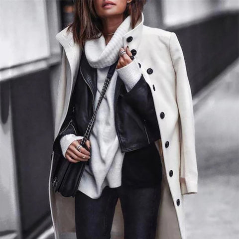 Women Brief Button Solid Color Long Overcoat