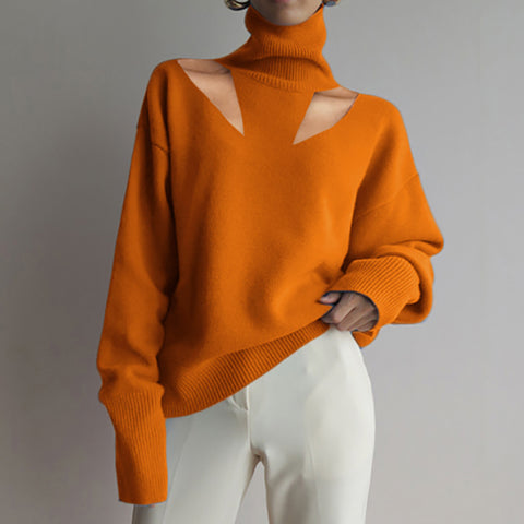 Fashion High Collar Pure Color Long Sleeve Sweater