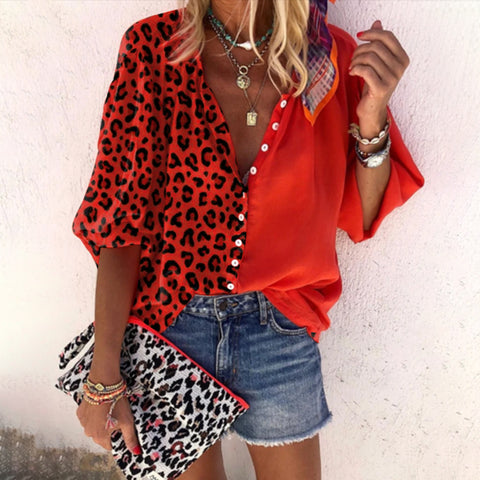Women's Fashion Casual Leopard Print Shirt