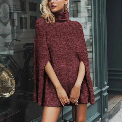 Funnel Neck Knit Cape Dress Sweater