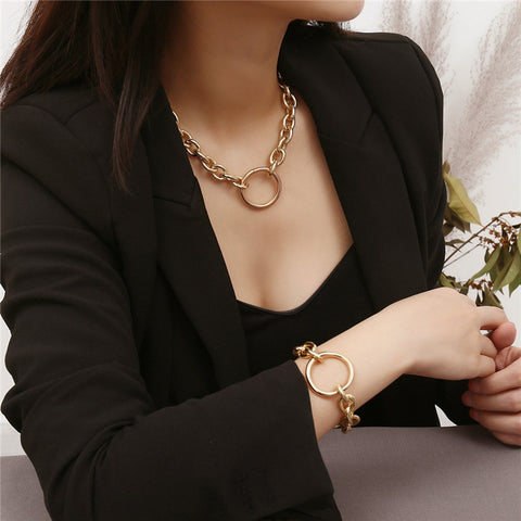Women's personality simple geometric circle alloy necklace bracelet