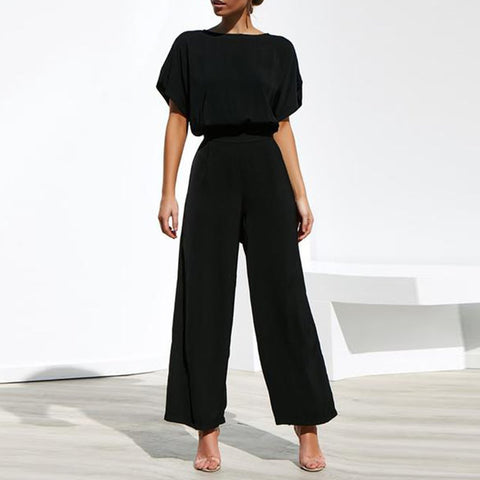 Commuting Wide-Leg High-Waist Trousers Short Sleeve Jumpsuit