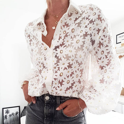 modern see-through floral print folding collar puff sleeves shirt