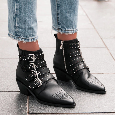 Women's fashion rivets with pointed low boots