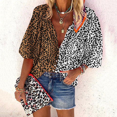 Casual Leopard Colorblock Shirt