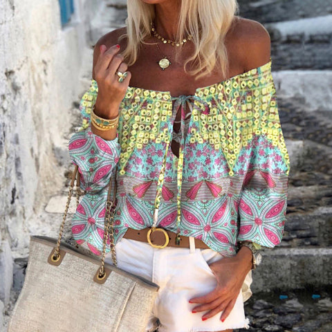Bohemian Off-shoulder Printed Blouse