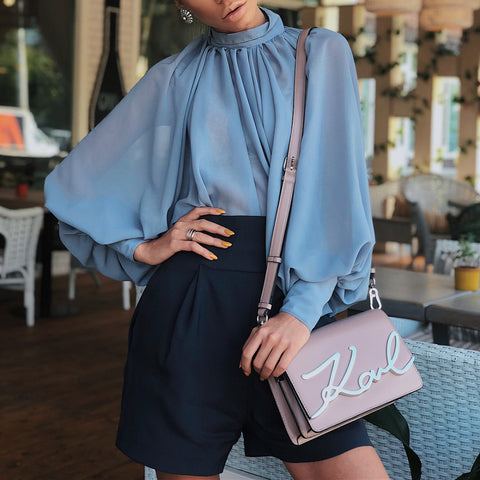 Fashion Stand Collar Puff Sleeve Pure Colour Shirt