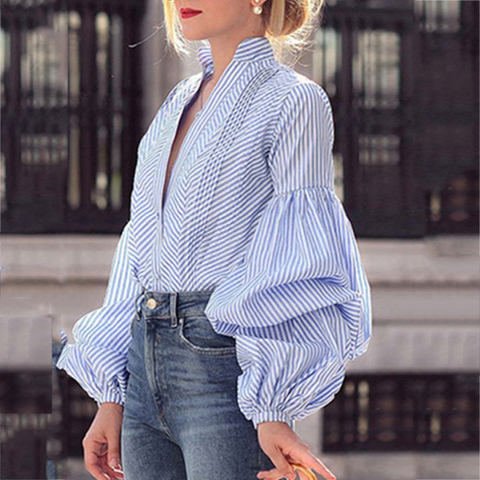 Fashion V-Neck Puff Sleeve Plaid Shirt