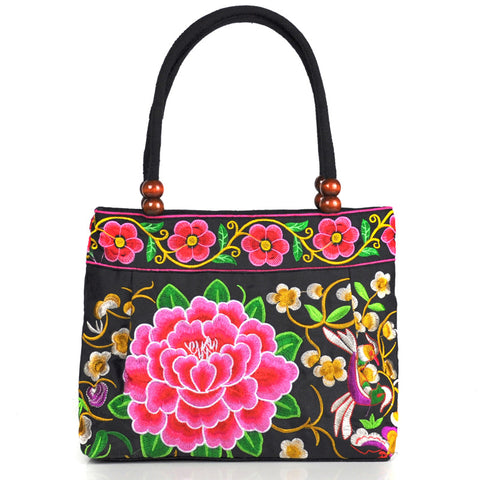 Women Vintage Canvas embroidered small handbags