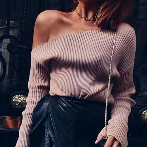 Sexy Solid Color Off Shoulder Long Sleeve Knit T-Shirt