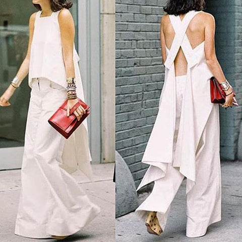 Women's Sleeveless Back Crossover + Casual Comfortable Wide Leg Pants Set