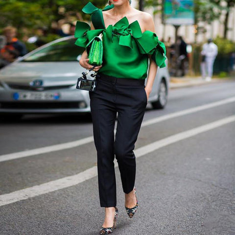 Fashion Solid Color Ruffle Sleeve Off-The-Shoulder Shirt
