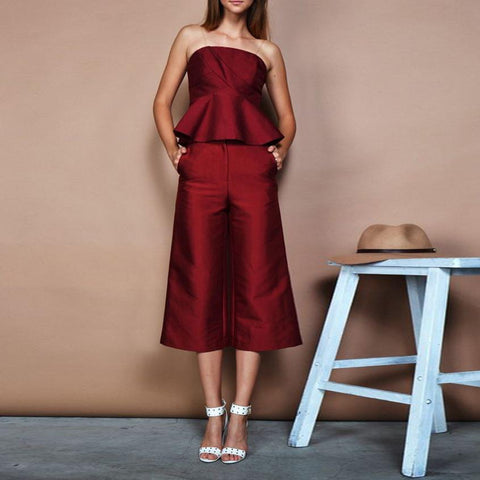 Sexy Off-The-Shoulder Solid Color Ruffle Loose Set