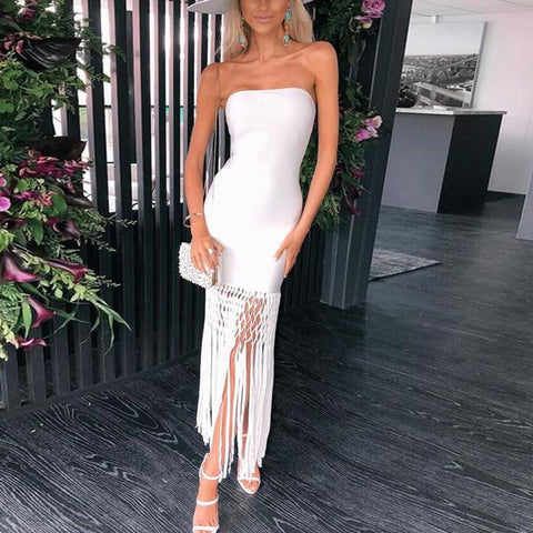 Off-The-Shoulder Fashion Tassel   Solid Color Bodycon Dress