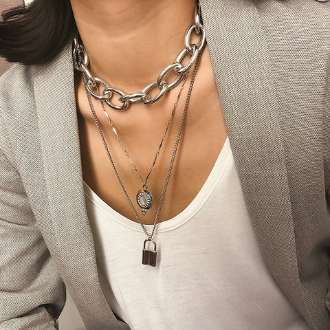 Exaggerated Metal Punk Chain With Diamond Lock Multi-Layer Long Necklace