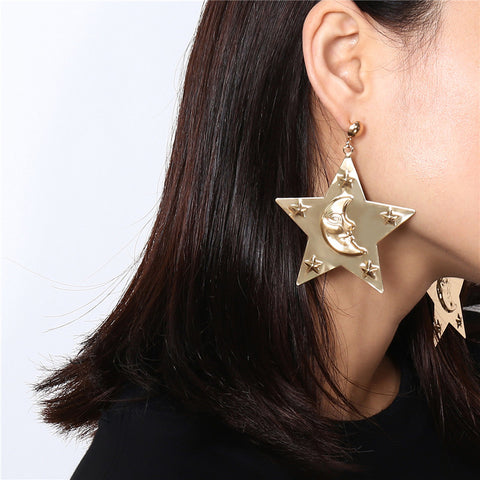 Women's personality metal five-pointed star pendant earrings
