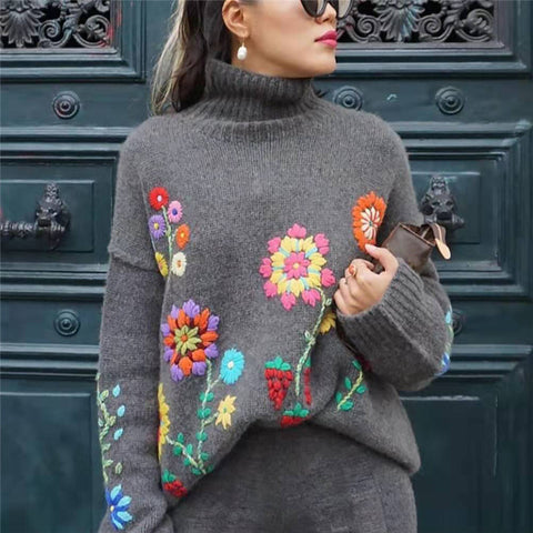 Casual High Neck Floral Printed Sweater