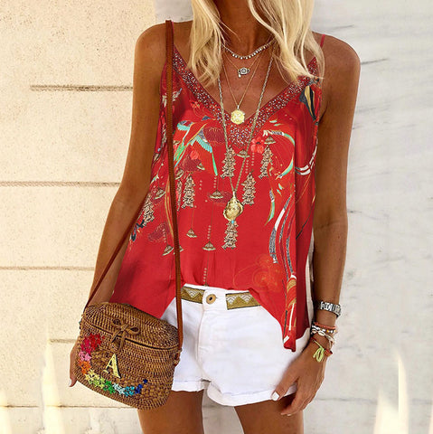 Stylish casual V-neck bohemian vest