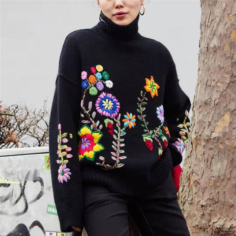 Casual High Neck Embroidery Sweater