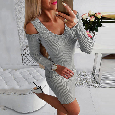 Sexy Fashion V-neck Rhinestone Solid Color Dress