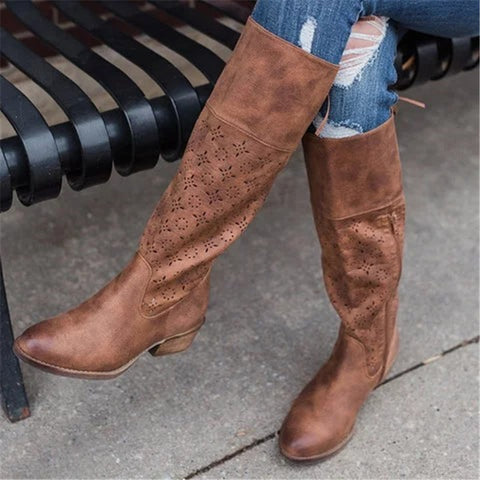 Women's casual solid color hollow knee boots