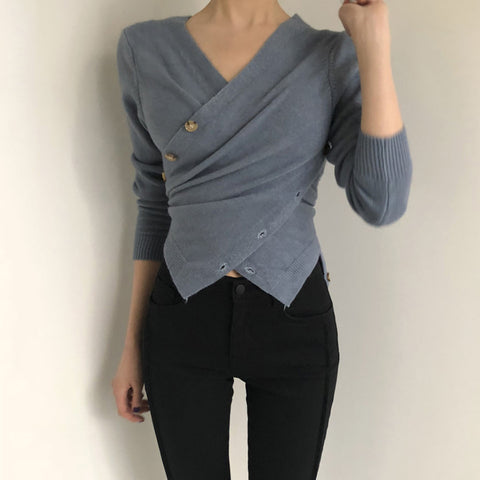 Casual Long Sleeve V Neck Pure Color Sweater