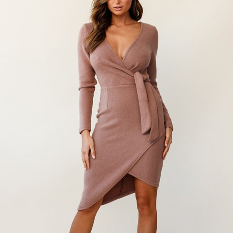 Women Fashion Deep V-neck Lace-up Irregular Hem Dress