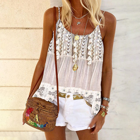 Casual Boho Lace Panel Vest