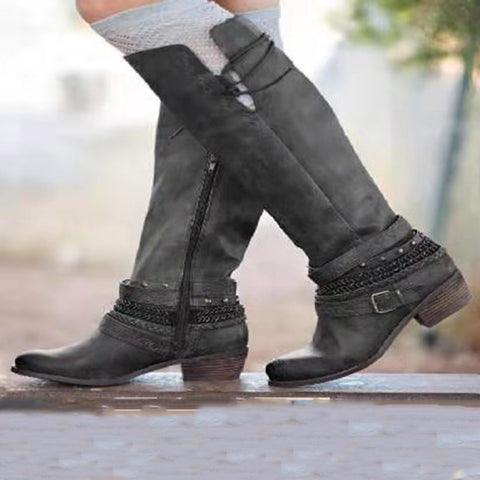 Women's fashion solid color side zipper boots