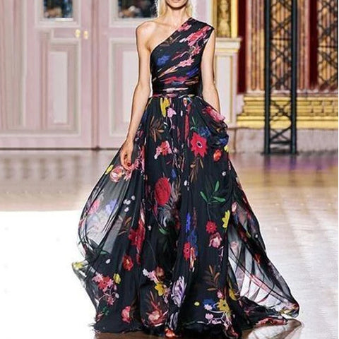 Fashion Single Printed Chiffon Maxi Dress
