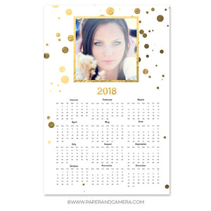 Gold Dots Calendar Card