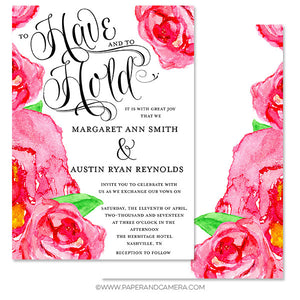 Bouquet of Roses Wedding Invitation 5x7