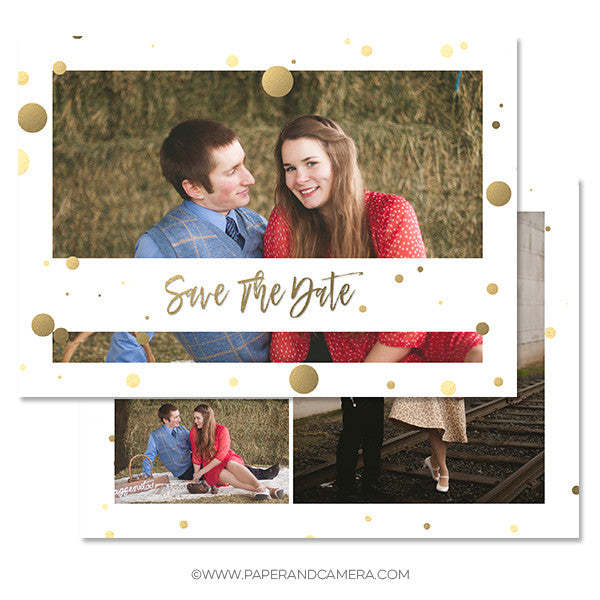 Gold Dot Save The Date Card